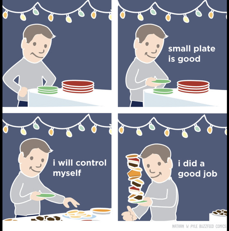 Cartoon meme about how you can control yourself to eat less with a small plate which doesn't work at all.