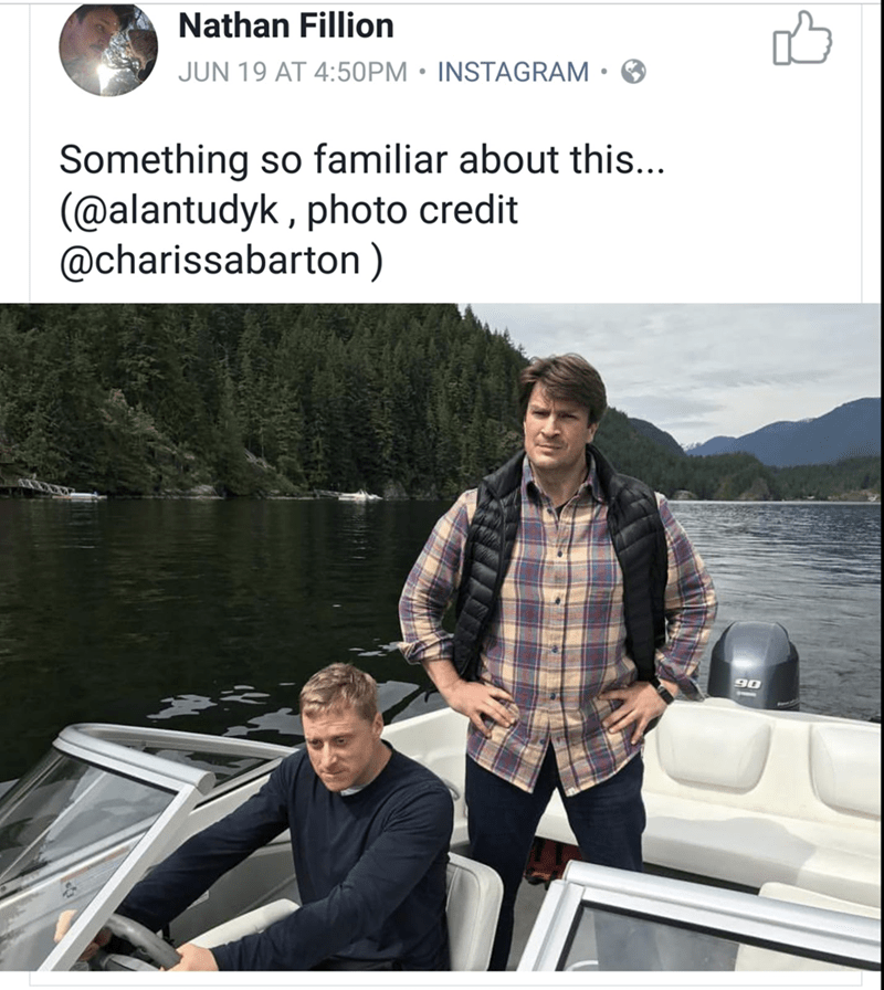 Nathan Fillion instagram about being in a familiar lake.