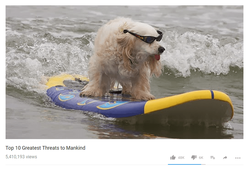 "Funny Youtube meme that says ""10 Greatest Threats to Mankind"" with a photo of a dog on a surfboard wearing sunglasses."