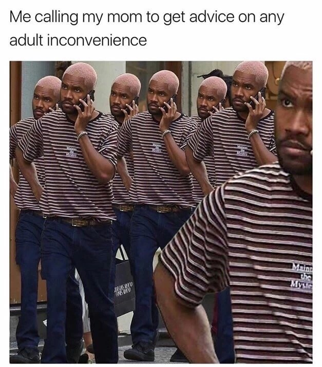 Thursday meme of a man calling his mom to get adivce