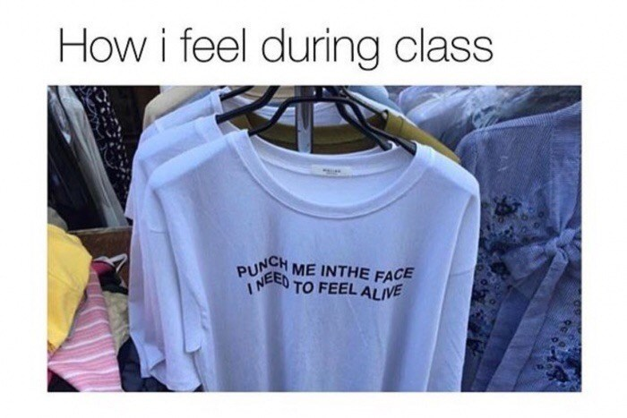Thursday meme about hating to be in class