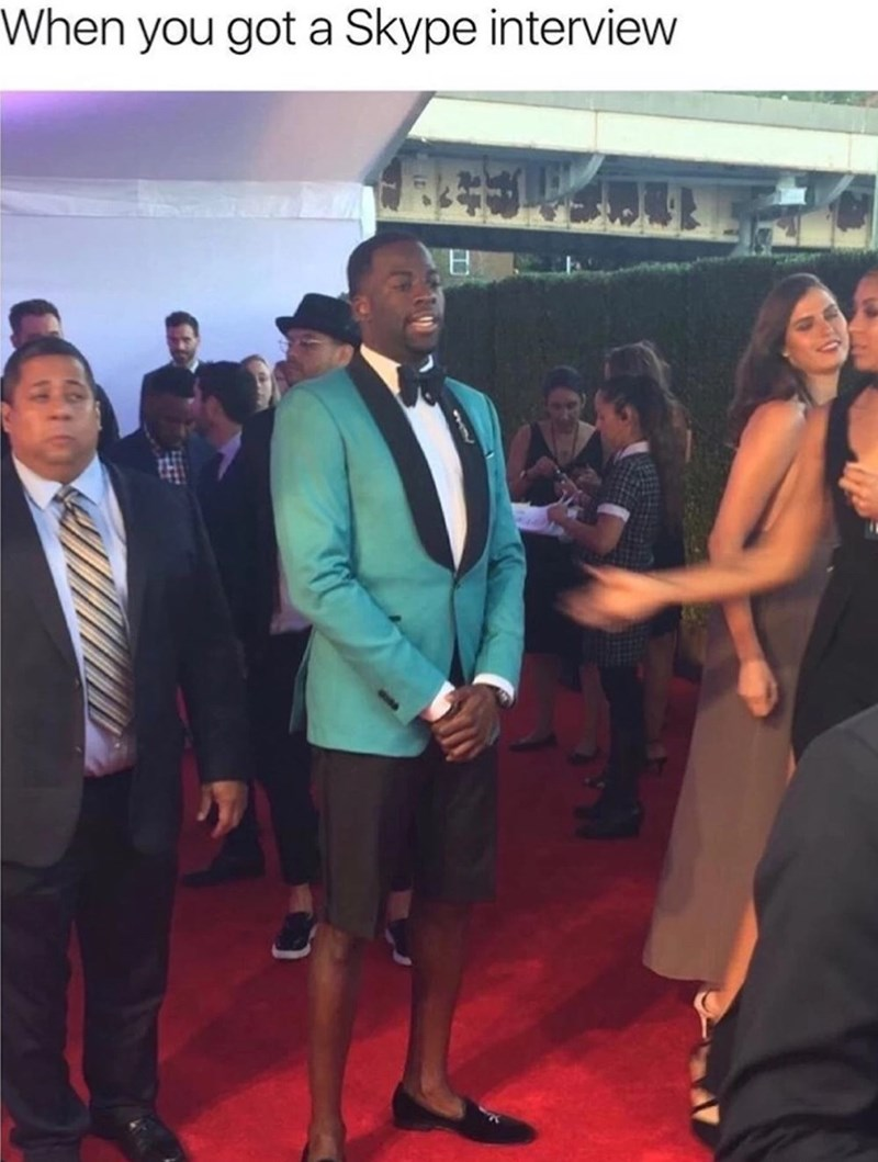 Thursday meme of a man wearing a suit jacket with shorts at a red carpet