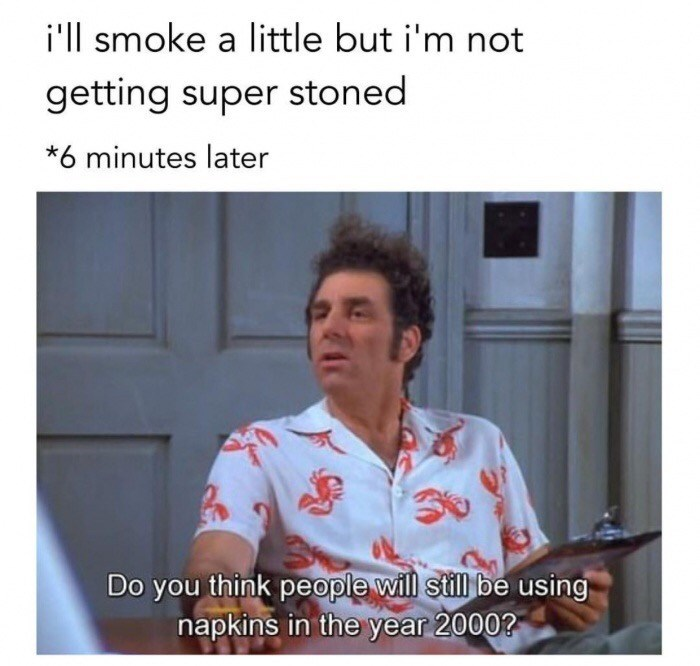 Thursday meme about getting too stoned when you did not intend to
