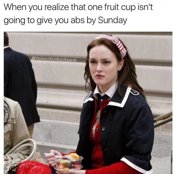 Thursday meme of Serena from Gossip Girl and getting upset about dieting not working