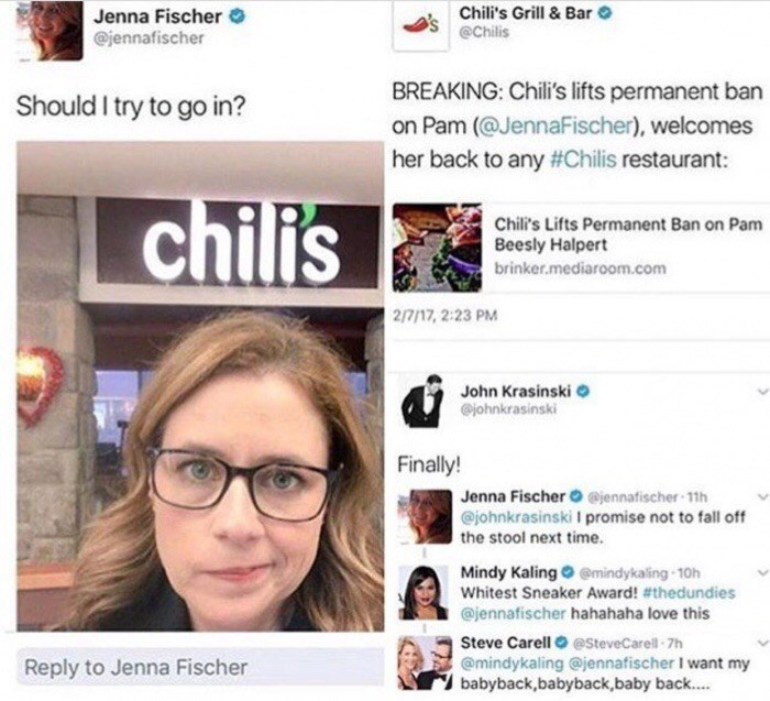 Thursday meme of Chili's allowing Pam from The Office to come back