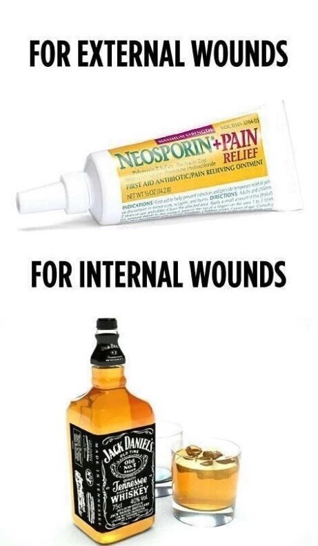 Thursday meme about drinking to heal internal wounds