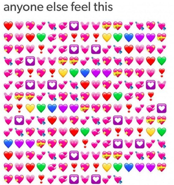 meme about feeling loving with pic of massive amount of heart emojis