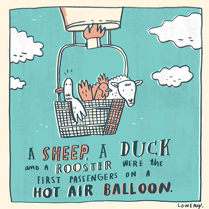 Poster - ASHEEP A DUCK amD A ROOSTER WERE the A FIRST PASSENGERS ON HOT AIR BALL O0N LOWERY.