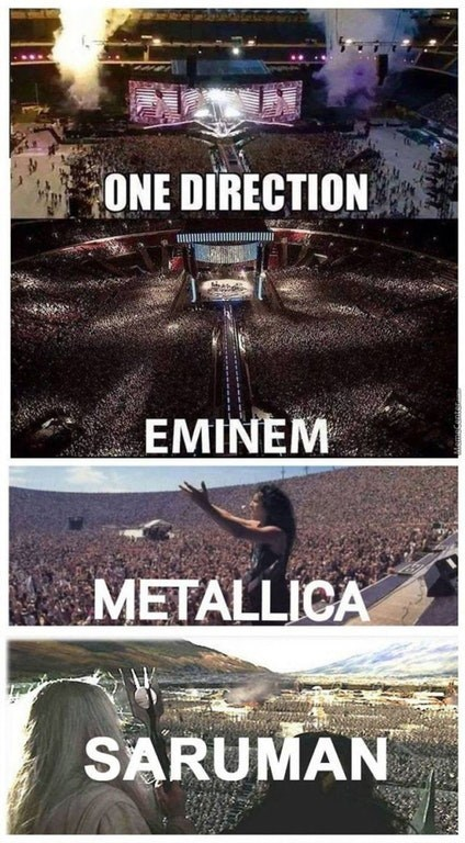 Funny meme comparing the crowds that One Direction, Eminem, and Metallica attract as compared to that of Saruman from Lord of the Rings.
