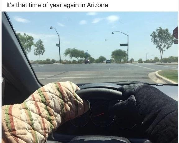 "Funny meme of someone in a car wearing pot holders, text says ""it's that time of year in arizona"" because arizona is unseasonably hot this summer."