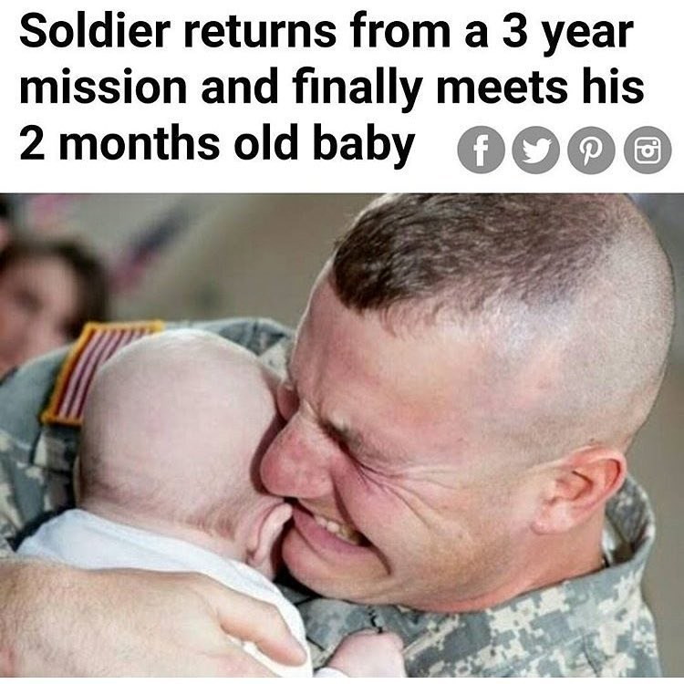 "Funny meme of a news headline that says ""soldier comes back after 3 years to see his 2 month old baby"" - implies his wife had cheated on him."