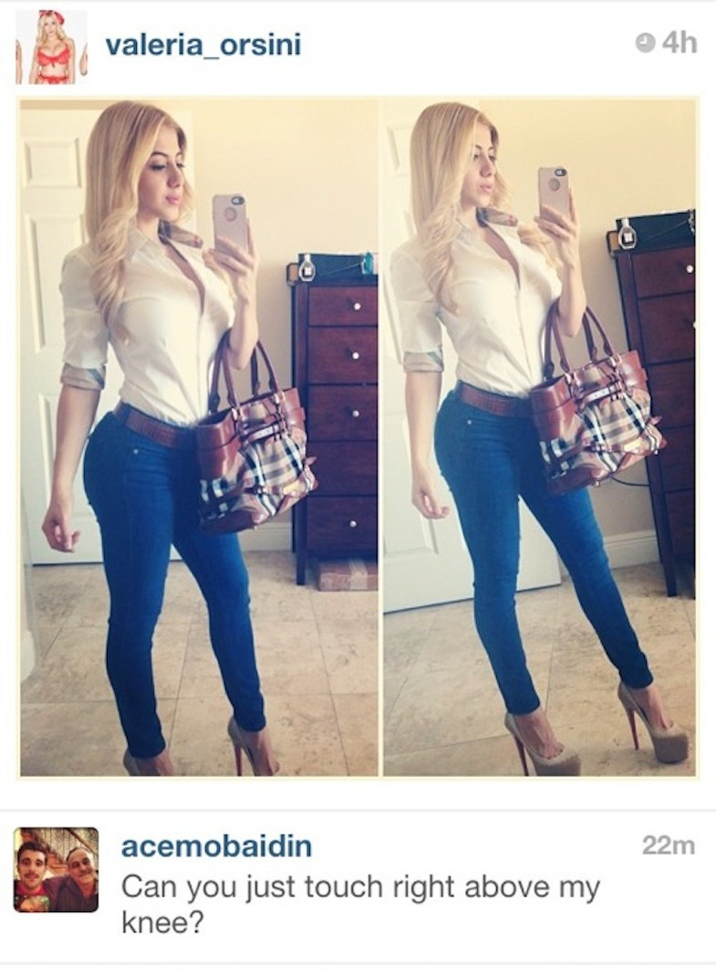 Jeans - 4h valeria_orsini acemobaidin 22m Can you just touch right above my knee?