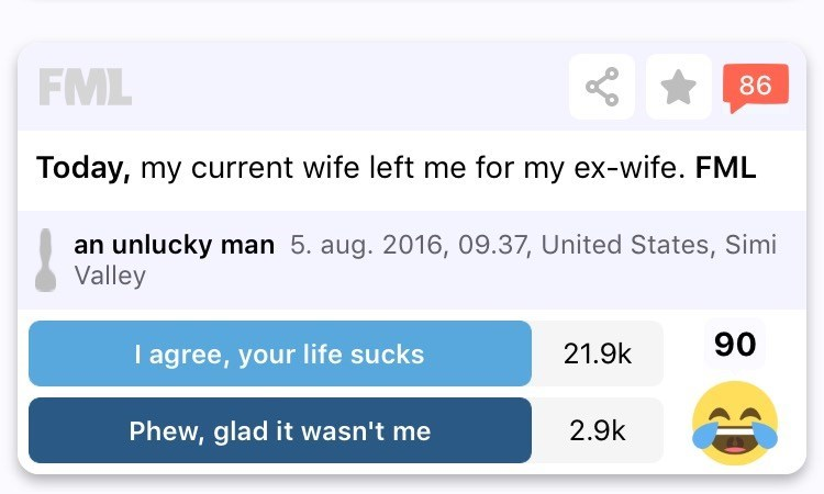 Text - FML 86 Today, my current wife left me for my ex-wife. FML an unlucky man 5. aug. 2016, 09.37, United States, Simi Valley 90 I agree, your life sucks 21.9k 2.9k Phew, glad it wasn't me