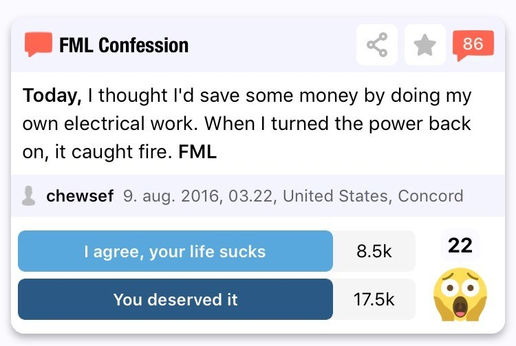 Text - FML Confession 86 Today, I thought I'd save some money by doing my own electrical work. When I turned the power back on, it caught fire. FML chewsef 9. aug. 2016, 03.22, United States, Concord 22 8.5k I agree, your life sucks 17.5k You deserved it