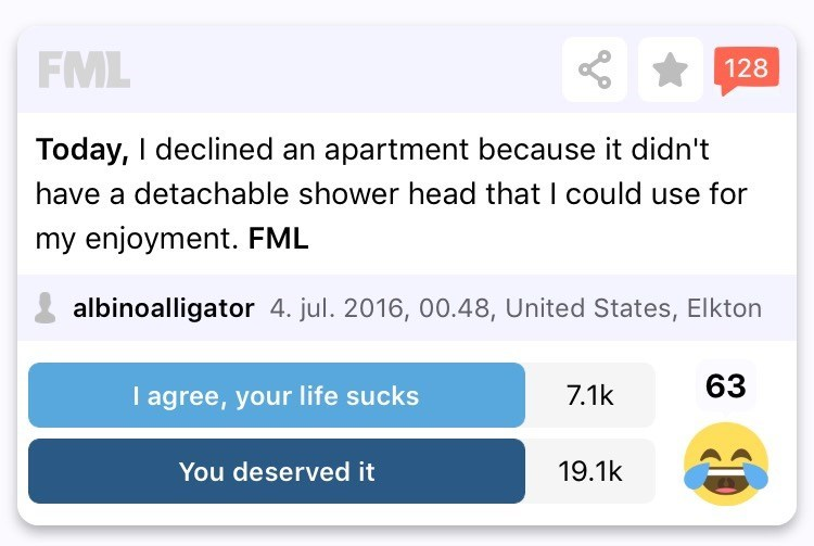 Text - FML 128 Today, I declined an apartment because it didn't have a detachable shower head that I could use for my enjoyment. FML albinoalligator 4. jul. 2016, 00.48, United States, Elkton 63 I agree, your life sucks 7.1k 19.1k You deserved it 0