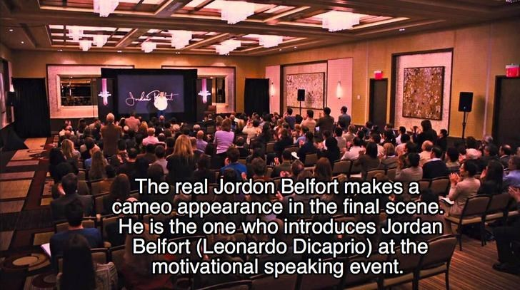 People - The real Jordon Belfort makes a cameo appearance in the final scene He is the one who introduces Jordan Belfort (Leonardo Dicaprio) at the motivational speaking event.