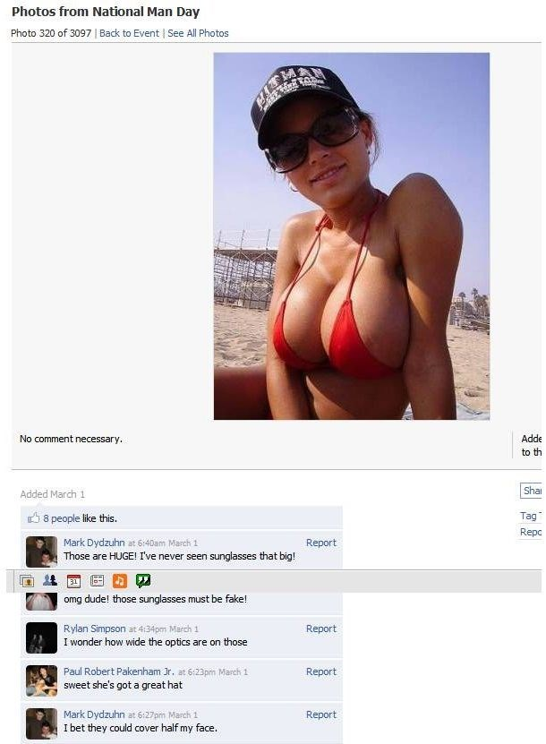 girl with large breasts posts pic on facebook and men comment about her sunglasses