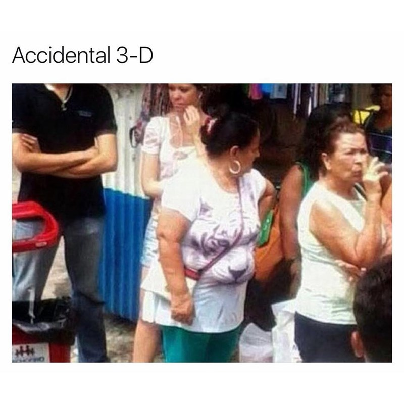 "Funny meme of an overweight woman wearing a tiger shirt - her gut makes it look 3-d, caption says ""accidental 3-d."""