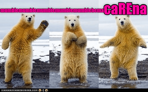 Three pics to appear to show a grizzly bear dancing the Macarena