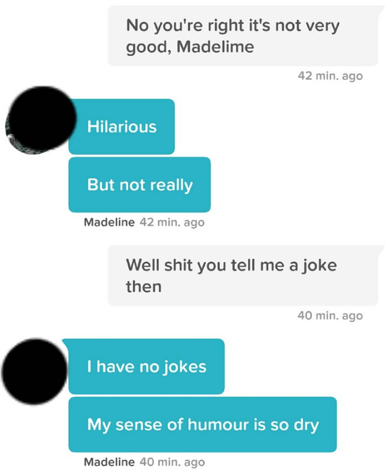 Text - No you're right it's not very good, Madelime 42 min. ago Hilarious But not really Madeline 42 min. ago Well shit you tell me a joke then 40 min. ago I have no jokes My sense of humour is so dry Madeline 40 min. ago