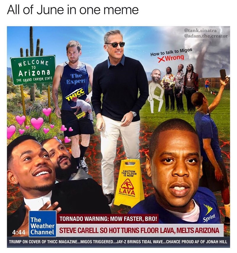 Funny meme that combines all the memes of june into one ultimate meme.