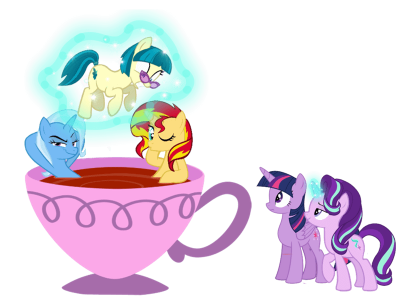 twilight sparkle teacup sunset shimmer the great and powerful trixie starlight glimmer juniper montage trini-mite - 9050007296