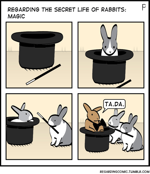 Clip art - REGARDING THE SECRET LIFE OF RABBITS: MAGIC |TA.DA. REGARDINGCOMIC.TUMBLR.COM