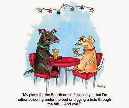 Cartoon of dogs on a date talking about their plans for avoiding the fireworks on 4th of July
