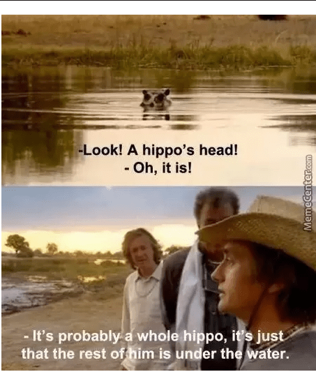 Scene from Top Gear in which they see a hippo head popping out of the water and Richard Hammond exclaims that it is probably a whole hippo, and you can just see the head at the moment.