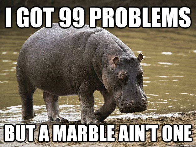 Dope hippo with 99 problems but a marble ain't one.