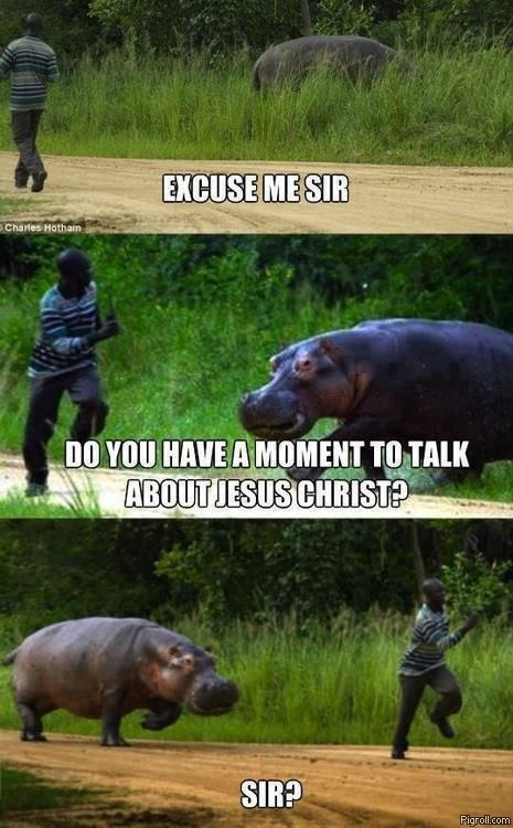 Funny meme of hippo chasing down a person captioned as a pushy Jesus Christ missionary.