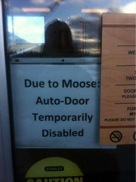 Text - WE TWO Due to Moose: DOOF PLEASE Auto-Door FOR MY Temporarily PLEASE DO NOT Disabled STANLEY TION