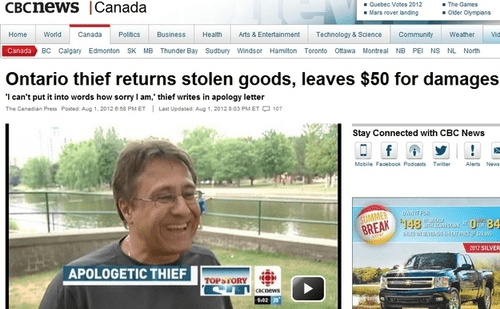 Mode of transport - CBCnews Canada The Games Oder Olympans Quebec Votes 2012 Mars rover landing Community Weather Home World Canada Politcs Business Health Arts & Entertainment Technology & Science Mid Canada BC Calgary Edmonton SK MB Thunder Bay Sudbury Windsor Hamiton Toecnto Otawa Montreal NB PE NS NL North Ontario thief returns stolen goods, leaves $50 for damages Ican't put it into words how sorry I am,' thief writes in apology letter The Canadian Press Poted Aug 1.2012 0 58 PET L Updned Au