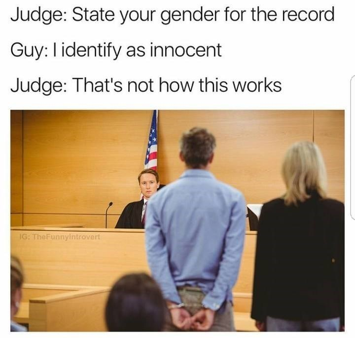 Funny meme about identifying as innocent gender-wise, in court. Not how it works.