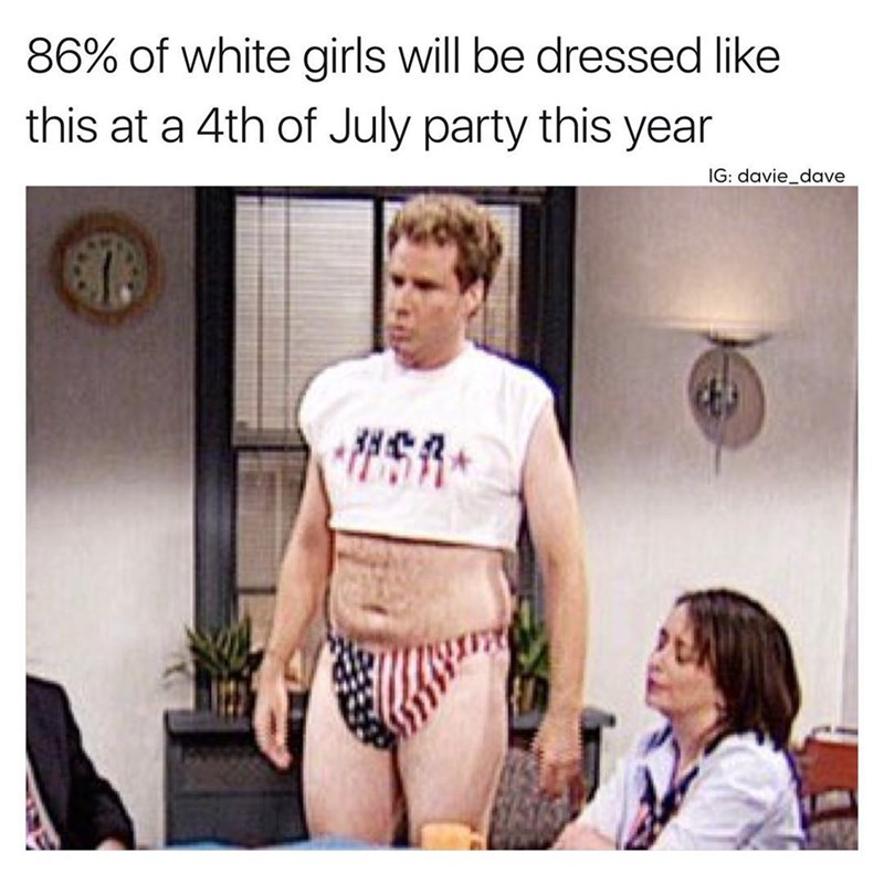 Funny meme about what girls will be wearing at 4th of July parties with Will Farrell wearing crop top and American Flag short-shorts