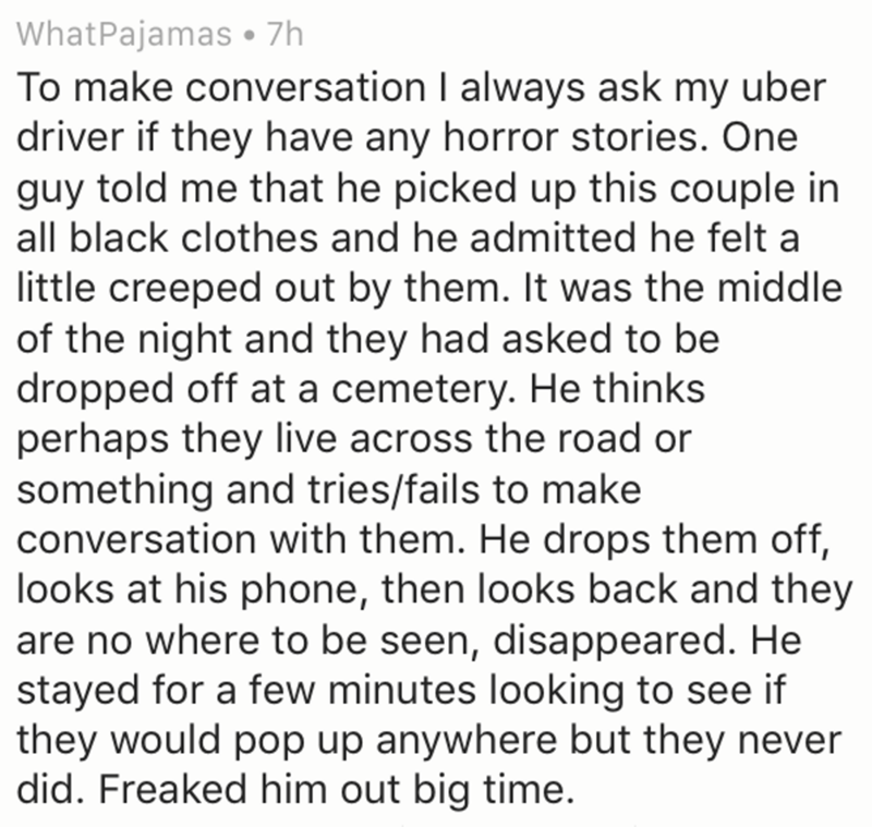 Uber driver story of a couple dressed in all black that needed ride to the cemetery and then disappeared.