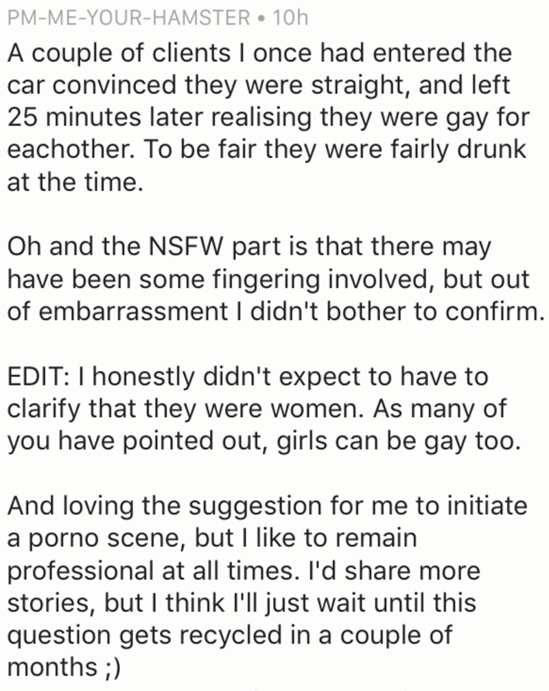 Uber driver who said that his clients convinced themselves in 25 minute ride that they were lesbians.