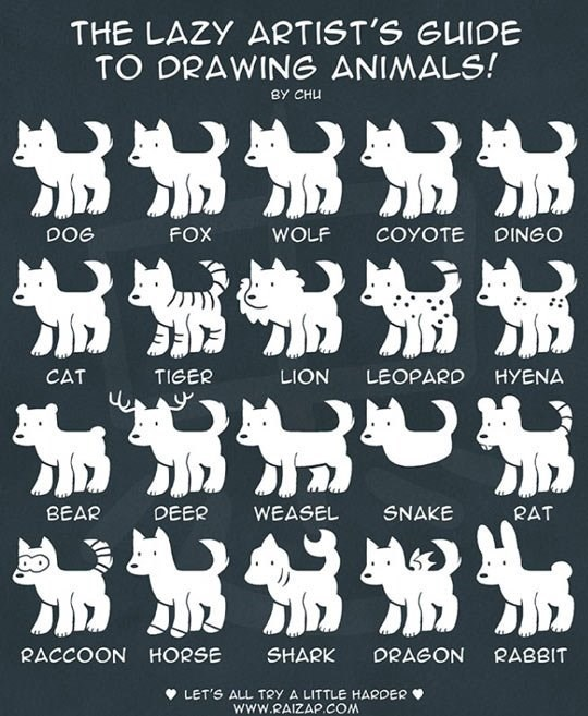 photo showing a drawing funny guide of animals