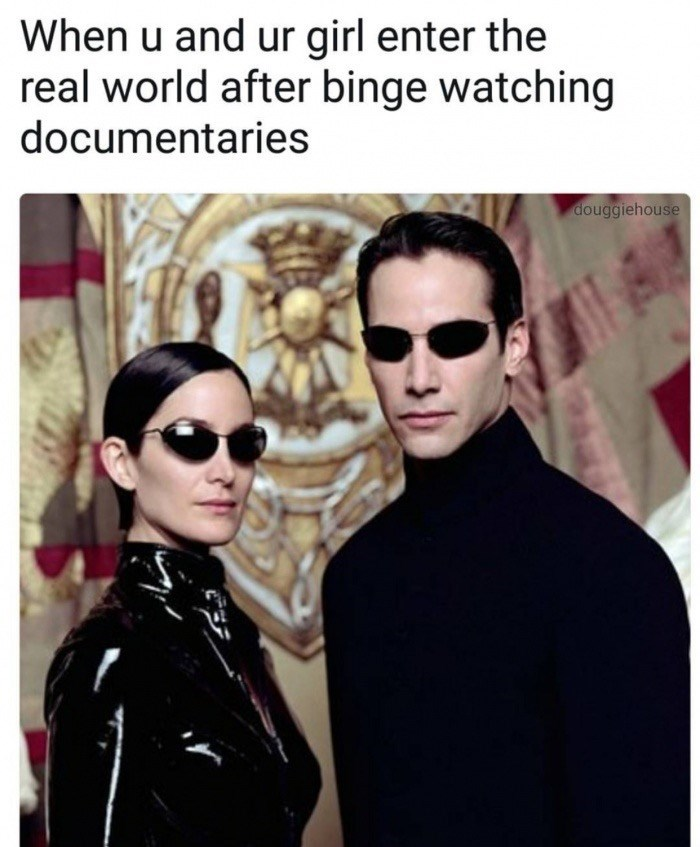 Neo and Trinity meme about when you and the GF start binging on some show together.