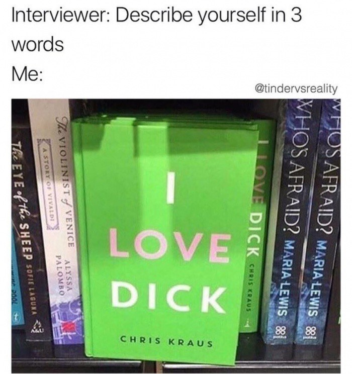Meme about describing yourself in an interview in 3 words, I love Dick