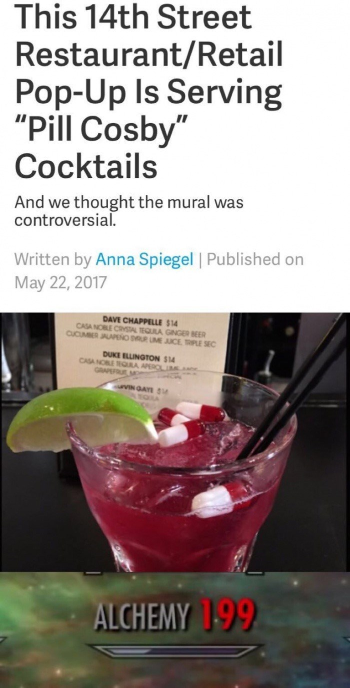 Article about restaurant selling Pill Cosby cocktails, with pills floating in it.