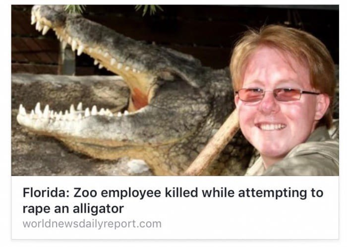 Screen shot of article about Florida zoo employee that was killed attempting to rape and alligator