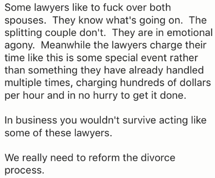 Text - Some lawyers like to fuck over both spouses. They know what's going on. The splitting couple don't. They are in emotional agony. Meanwhile the lawyers charge their time like this is some special event rather than something they have already handled multiple times, charging hundreds of dollars per hour and in no hurry to get it done. In business you wouldn't survive acting like some of these lawyers. We really need to reform the divorce process