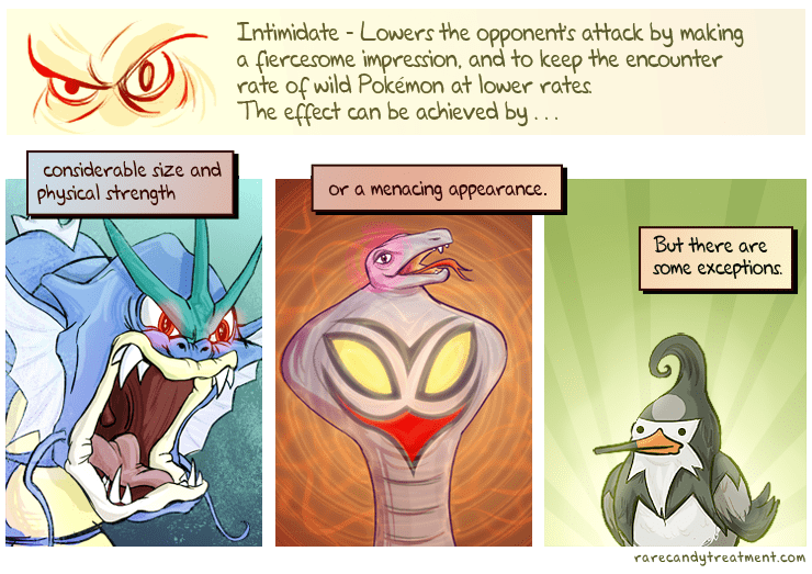 Cartoon - Intimidate -Lowers the opponents attack by making a fiercesome impression, and to keep the encounter rate of wild Pokémon at lower rates The effect can be achieved by . .. considerable size and or a menacing appearance. physical strength But there are some exceptions rarecandytreatment.com
