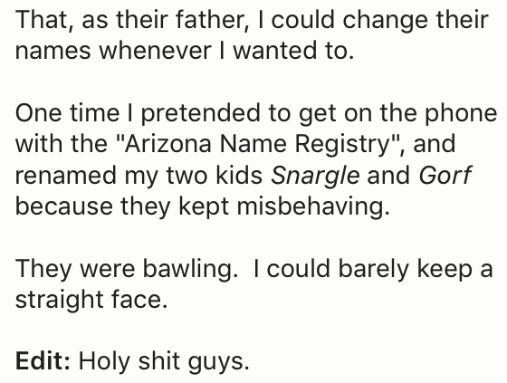 Reddit post of father who threatened his kids to change their names if they don't behave