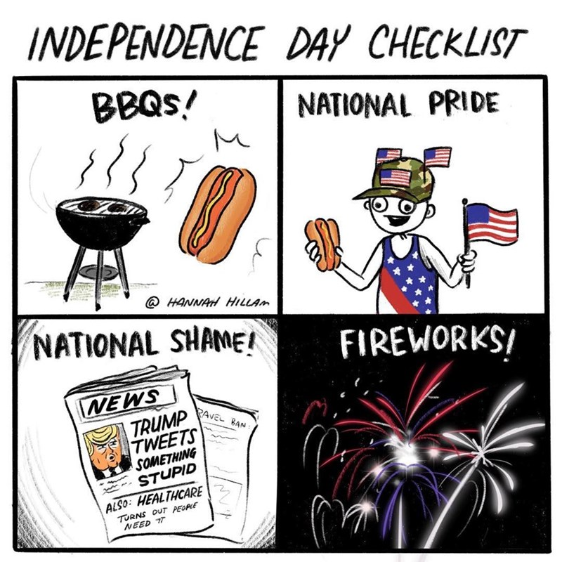 "Funny web comic about the 4th of july involving the ""national shame"" of donald trump."