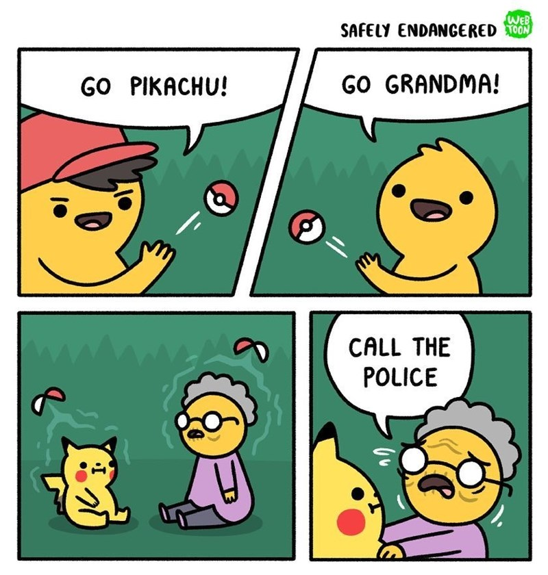 Funny web comic about pokemon - guy is keeping grandma in a pokeball. She asks pikachu to call the police.