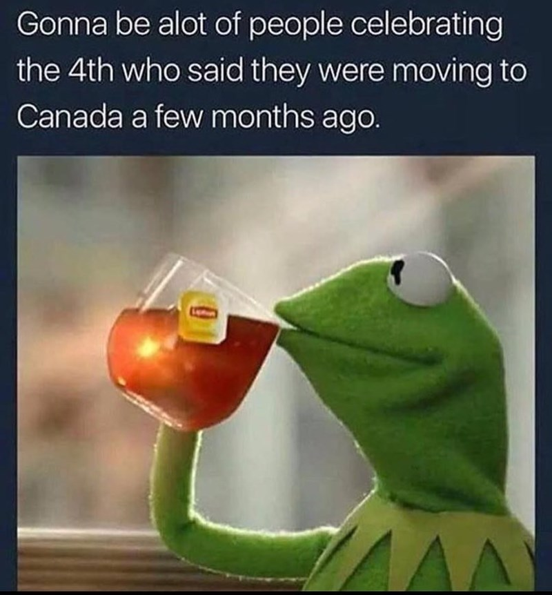 Funny meme about Kermit the frog - saying that a lot of people who were saying they were moving to Canada will be celebrating 4th of july.