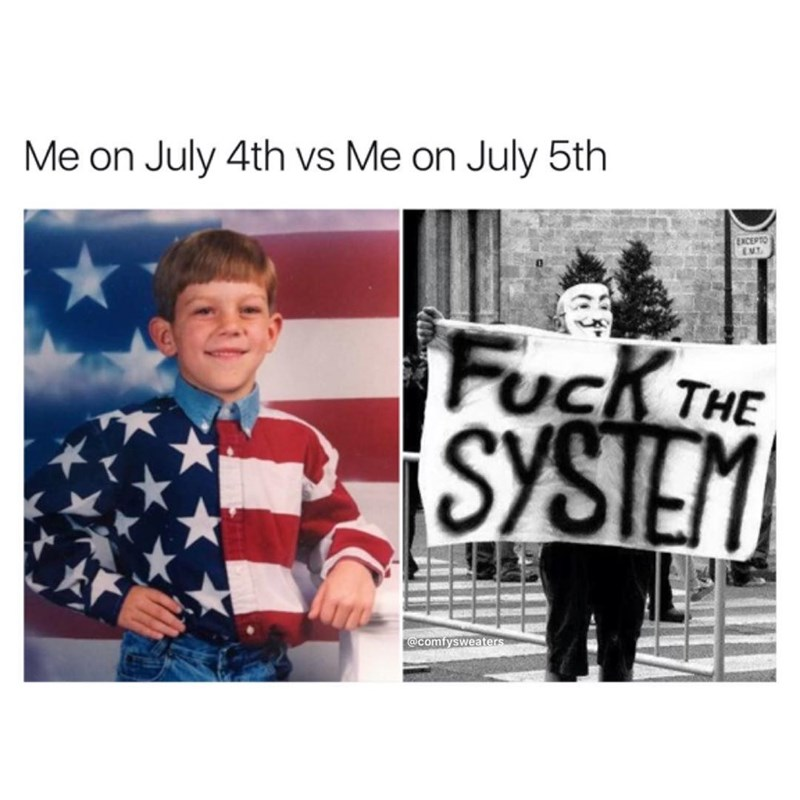 Funny meme about how on July 4th people are patriotic but against the system every other day.