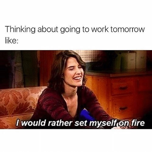 Funny meme of Robyn (Cobie Smulders) from How I Met Your Mother about how much nobody wants to go to work after a holiday.